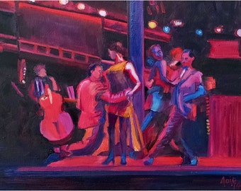 Argentine Tango Original Oil Painting - 14x11in
