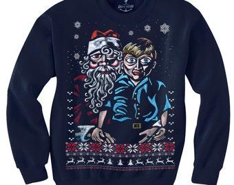 Ugly Christmas sweater -- Big Eye Santa -- pullover sweatshirt -- s m l xl xxl xxxl skip n whistle