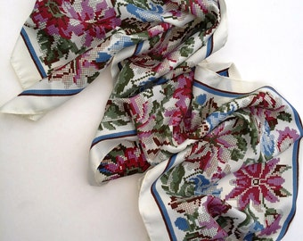 45% OFF 80s Scarf / Vintage Scarf / Print Scarf / Floral Scarf / Womens Scarf by Basha Scarves