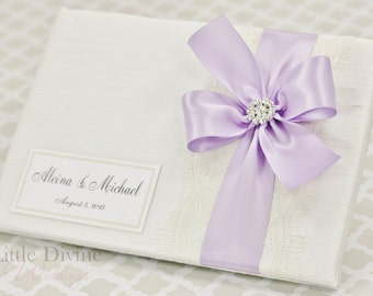 Wedding Guest Book Off White Lavender Custom Made in your Colors