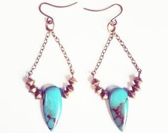 Magnesite green chandelier Boho earrings