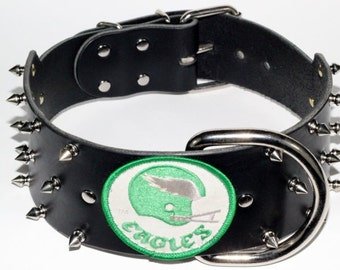 "3"" Philadelphia Eagles Dog Collar - Black Leather Eagles Dog Collar - Vintage Eagles Patch - Spiked Eagles Dog Collar, (Clearance Collar)"