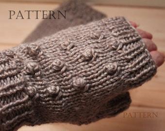 Bobble Fingerless Mittens, Knit, Pattern