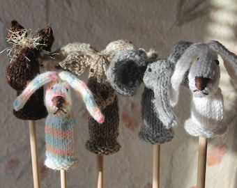 Bunny, Moose, Horse, and Elephant Finger Puppets Knit in Round