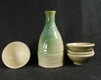 Celadon Green Sake' Set with four cups