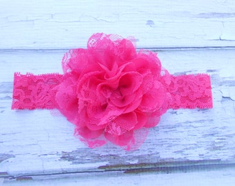 Hot Pink chiffon and lace flower  headband  newborn-toddler-girls