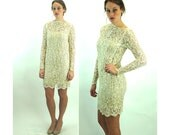 Lace dress with pearls and sequins ivory ecru lace short wedding dress button back Size S