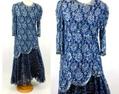 1980s sequin beaded flapper style 80s does 20s blue lace skirt and top tunic Judith Ann Size S/M