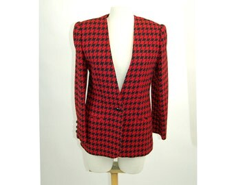 Red black wool blazer houndstooth tailored jacket Giorgio Sant'Angelo Size M NOS