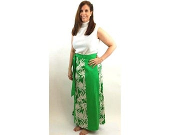 1970s maxi skirt wrap skirt green white tropical print bamboo cotton skirt Size M