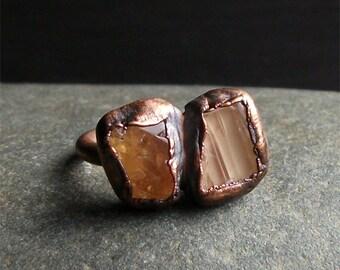 Topaz Ring, Copper Topaz Ring, November Ring, Dual Stone Ring, Birthstone Ring, Copper Gemstone Ring, Copper Ring, Imperial Topaz Ring