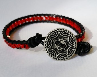 Red Crystal and Black Leather Bracelet