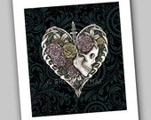 Skeletal Heart, Steampunk Skull with Roses, Dark Victorian Gothic Art Print, Sale