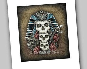 Legends of the Pharaohs, Egyptian Skulls, Dark Fantasy Gothic Art Print, Sale