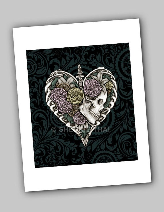 Skeletal Heart, Steampunk Skull and Roses Art Print