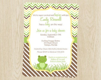 Frog, Baby Shower, Invitations, Pond Friends, Gender Neutral, Yellow, Green, Froggy, Chevron, Stripes, 10 Printed Invites, FREE Shipping