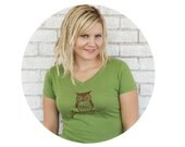 Woodland Owl Hand Printed Vneck Tshirt, Short Sleeved, Cotton Clothing, Enjoying Nature, Avocado Green, Sporty V, Gift For Teen Girls Soft