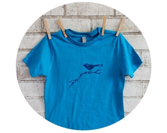 Bird on a Branch Youth Tshirt, Turquoise Blue, Hand Printed, Short Sleeved Cotton Graphic Tee, Kids Clothes, Little Sparrow, Cute Animal