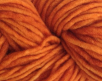 Bulky / Chunky Weight Hand Painted Wool Yarn Pencil Roving in Land Orange 60 yards Hand Dyed