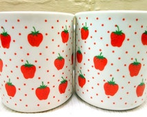 1960s Schmidt Porcelana Set Of Two Matching Strawberry Coffee Cup/Mug