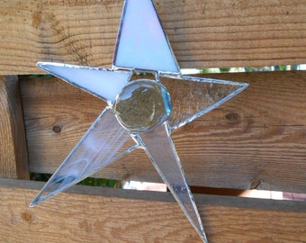 Stained Glass Star - Clear - White - Christmas - Celestial - Suncatcher