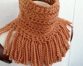 Tassel Scarf * Crochet Neckwarmer in a Warm Cozy Wool Blend Copper Brown by Tejidos on Etsy * Fits Medium to XL