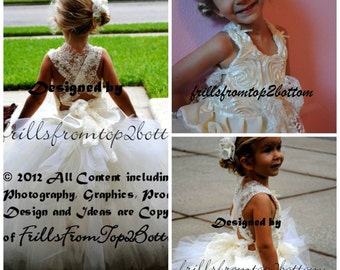 Lace, Ivory, Rosette, Shabby Chic Flower Girl Dress . Halter Top Style. Full Multi-Layer Tutu Skirt . availabe in sizes up to a 5T