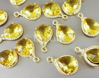 2 Topaz glass stone in gold rope rim setting pendants, glass beads, jewelry / jewellery supplies 5054G-TO (bright gold, topaz, 2 pieces)