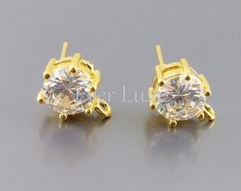 2 round 7mm CZ / Cubic Zirconia in prong setting stud earrings, crystal jewelry, bridal / wedding earrings 1022-BG-7