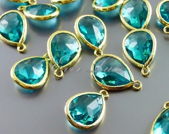 2 sea green / blue teardrop glass stone charms for jewelry / jewellery, bridal, wedding jewelry 5073G-SG (bright gold, sea green, 2 pieces)