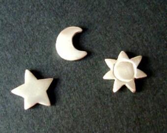 Moon Star Sun Stud Earring Star Earrings Sun Earring  Moon Earring set of 3 earrings women jewelry summer jewelry