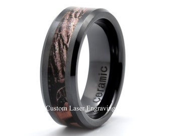 Ceramic Wedding Band, Mens Wedding Ring, His Rings Hers Wedding Rings,Ring,Anniversary,Band, Custom Ceramic Ring,Laser Engraving