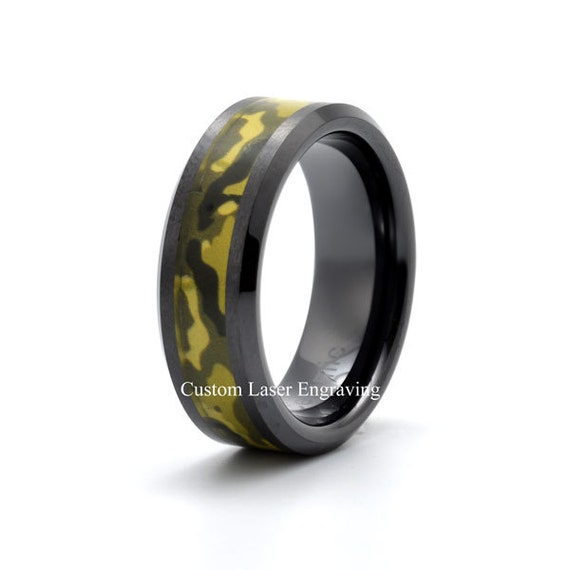 Ceramic Wedding Band Mens Ring Mens Wedding Bands Camouflage