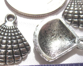 Sea Shell Charm Tibetan Silver Jewelry Supply 3 pieces ocean sea beach theme