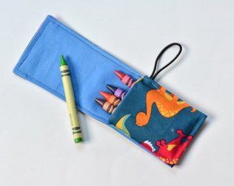 Crayon Roll Up Kids Rollup Birthday Party Favors, Birthday Supplies, Crayon Wrap, Travel Crayon Pouch Carrier, Crayons Not Included