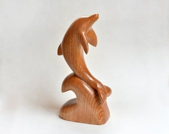 Mom Birthday Gift Wood Carving Dolphin Woodworking Husband Gift Fish Wood Sculpture Fall Decor Fall Decor