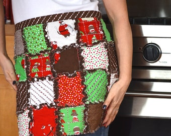 Christmas rag quilt half apron in Santa's Little Helpers sock monkey cotton fabric by Moda