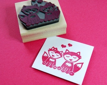 Foxes in Love Rubber Stamp - DIY Wedding - Handmade Wedding Invitation Stamper - Save The Date  - Wedding Stationery - Nature Wedding