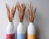 Trio of Bottle Vases  / set of Vases / Instant collection /  set of 3  / white vase / golden yellow / raspberry vase / beach decor