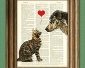 Dog and Cat Love Best Friends illustration beautifully upcycled dictionary page book art print