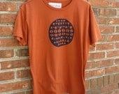medium screenprinted tshirt, geometric design, men's unisex medium, pumpkin fall orange