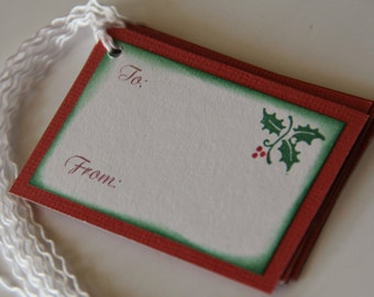 Christmas Gift Tags with Holly and Berries Set of 6, Holiday To From Gift Tags, Christmas Hang Tags (CGT1314)