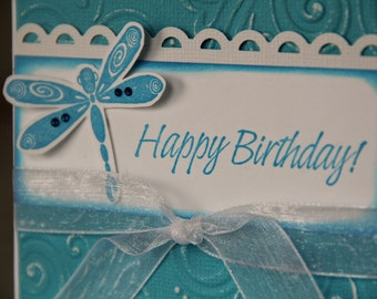 Embossed Birthday card with Dragonfly, Dragonfly Happy Birthday Card, Birthday Card for Women (EBD1503)
