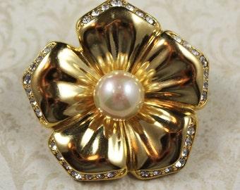 Vintage Nolan Miller Rhinestone and Pearl Golden Flower Brooch