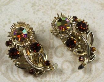 Vintage Lisner Brown and Topaz Rhinestone Gold Flower Clip On Earrings