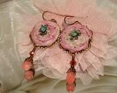 Small silk sari rosette gemstone drop textile earrings Pamelia Designs