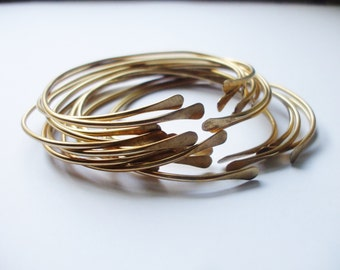 The ULTIMATE (5) Brass Stacking Bangles // Sexy Bohemian Smooth Skinny Oval Stacking Bracelets // Adjustable Open Cuff LUXE Boho Bangle Set