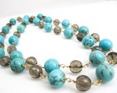 Turquoise Necklace, Smokey Quartz Necklace, 18 inches long, Statement Necklace, Blue Brown Necklace, Turquoise and Smokey Quartz, SKU 2928