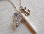 Spike and Anchor Pendant Layering Necklace. Crystals, FreshWater Pearls, Statement, white Howlite