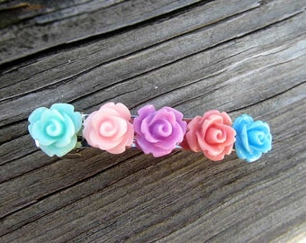 Five mint, pink, purple, coral. blue rose French Barrettes 2pcs choose your own flower